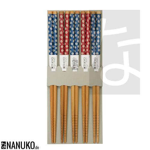 Chopstick Sakura design blue/red (Set of 5)