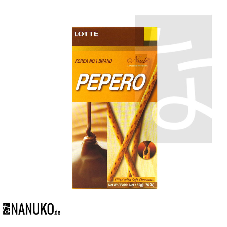 [Lotte] Pepero Nude Filled With Soft Chocolate 50g - Korea