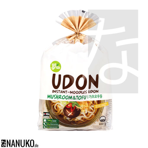 All Groo Instant Udon Nudel Tofu & Pilze 690g