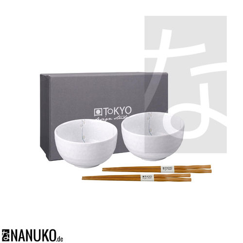 White Cosmos Bowl Set with Chopsticks