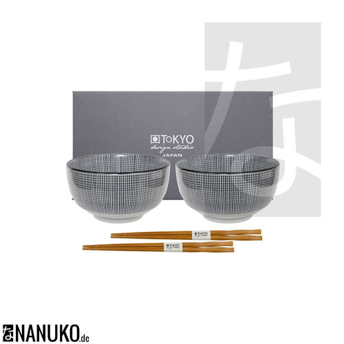 Sendan Black Bowl Set with Chopsticks