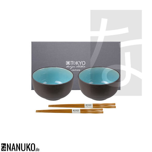 Glassy Turquoise Bowl Set with Chopsticks