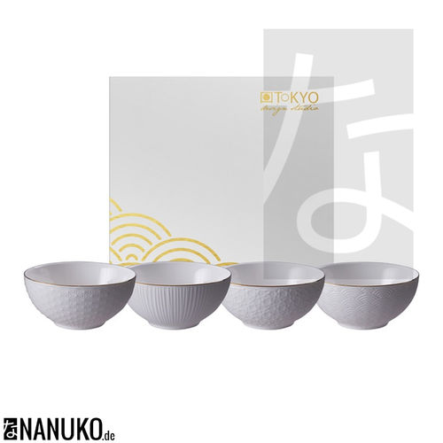 Nippon White Gold Rim Bowl Set 15x7cm (4Pcs)