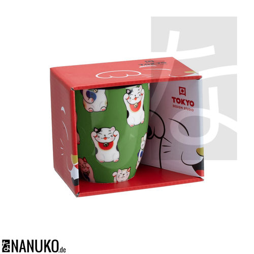 Kawaii Lucky Cat Teebecher Green Classic Cat